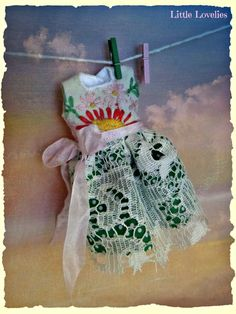 """BLYTHE DOLL Dress - OOAK - """"Dreamy""""  lovely vintage look from linen and calico with flair by LittleLovelieShop on Etsy"""