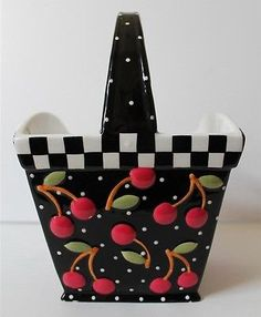 2000 MARY ENGELBREIT Cherries Ceramic Basket Signed & Dated, ME Ink