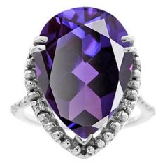 Big Pear Cut Alexandrite Gemstone Diamond Ring In White Gold Available Exclusively at Gemologica.com