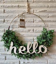 Front Door Decor, Wreaths For Front Door, Door Wreaths, Entryway Decor, Front Porch, Wine Barrel Rings, Modern Wreath, Craft Day, Diy Wreath