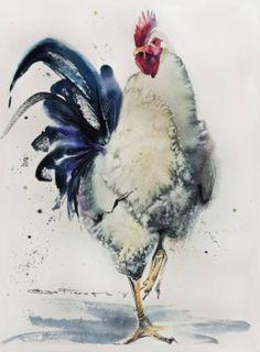 """Saatchi Art Artist Olga Flerova; Painting, """"White Rooster №4"""" #art"""