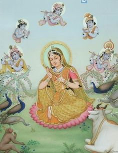 Mirabai Dreaming of Krishna by B. Mirabai was a famous and much-loved saint who was a devotee of Krishna, as was the artist himself. Bal Krishna, Krishna Leela, Cute Krishna, Radha Krishna Photo, Krishna Photos, Krishna Images, Krishna Radha, Lord Krishna, Radha Rani