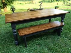 Reclaimed Oak Barn Wood table with turned legs and bench. See more beautiful table options at furniturefromthebarn.com