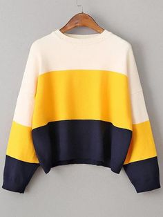 Color Block Drop Shoulder Loose Sweater $21