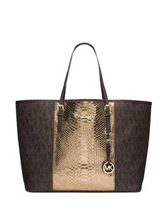 MICHAEL Michael Kors MK Jet Set Travel Center Stripe Python Embossed Saffiano Leather Medium Tote