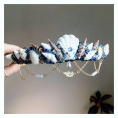 The MIDNIGHT BLUE Mermaid Crown / headband / by FridaFlowerCrowns