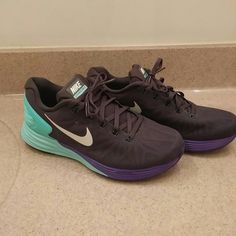 NIKE LUNARGLIDE 6 New never worn size women's 8 NIKE LUNARGLIDE 6 charcoal gray, mint and purple with white NIKE Nike Shoes Athletic Shoes