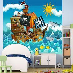 Fotomurales: Pirates Kids. Barco pirata dibujado con un divertido estilo lleno de color. Ideas decoracion para habitación infantil #fotomural #infantil #TeleAdhesivo