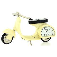 Miniature Scooter Novelty Cream Tone Classic Vespa - Collectors Clock 9088 Classic Vespa, The Collector, Miniatures, Clock, Cream, Stuff To Buy, Watches, Accessories, Table