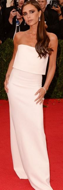 Who made  Victoria Beckham's jewelry, white off the shoulder gown, and shoes that she wore to the 2014 Met Gala?