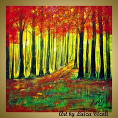 Original Modern Impressionist Trees Autumn Landscape Forest Palette Knife Oil Painting by Luiza Vizoli RED FOREST