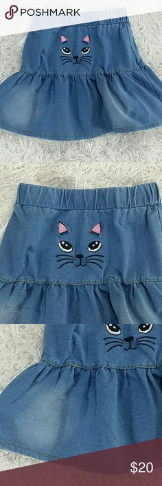 Kitty Denim Skirt.  Kids Adorable blue denim tiered skirt with a cute kitty face design.  Very cute item  This item is brand new and never used.🎁 with tags  #13929 Bottoms Skirts