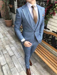 Terziademaltun İtalyan stil slim fit ceket yelek pantolon mavi takım elbise Menssuits is part of Suits - Stylish Mens Fashion, Mens Fashion Suits, Mens Suits, Male Prom Suits, Stylish Menswear, Womens Fashion, Business Casual Coat, Business Attire, Man Style