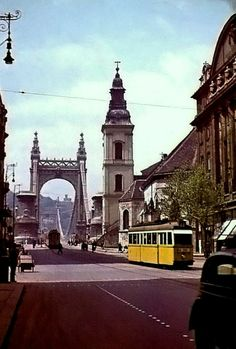 Old Elisabeth Bridge 1942 - Apponyi square Budapest City, Budapest Hungary, Vintage Architecture, Historical Architecture, Anno Domini, Heart Of Europe, Travel Aesthetic, Tower Bridge, Vintage Photography