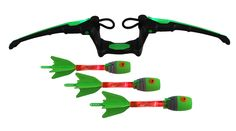 Zing Air Storm Fire Tek Bow, Green. One set includes : 1 light up bow and 3 light up arrows. Light activation power grip, loop and launch technology. Zonic Whistle arrows with fire glow LED.