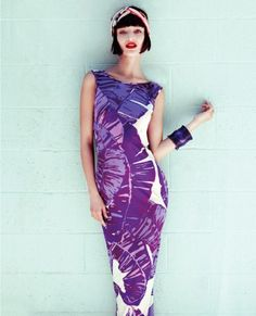 Purple and white palm-print silk-jersey dress, £337.50, from houseofholland.co.uk . Red and white silk scarf (on head), £139, by Sonia Rykiel, from fenwick.co.uk . Purple plastic bangle, £12.50, by Freedom at Topshop