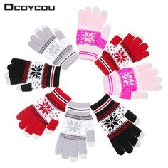 Fun snowflake patterned knitted touchscreen gloves for smartphones.