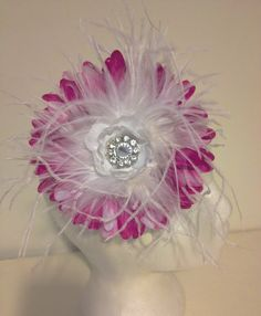 White and Purple Flower Feather Couture Headband. Fancy Girl Boutique Handmade in Brooklyn.