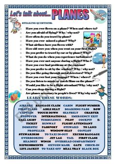 LET´S TALK ABOUT PLANES (SPEAKING SERIES 63) - ESL worksheet by joebcn English Teaching Materials, English Teaching Resources, English Activities, Language Activities, Esl Writing Activities, English Speaking Skills, English Learning Spoken, English Lessons, English Vocabulary