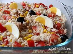 A small colorful salad to bring back the sun. For peoplePreparation: 20 minutesCooking: 15 minutesIngredients: … Salade de riz thon maïs tomate oeuf et olives – Une petite faim Cooking Time, Cooking Recipes, Healthy Recipes, Healthy Food, Olive Salad, Special Recipes, Creative Food, Diy Food, Coco