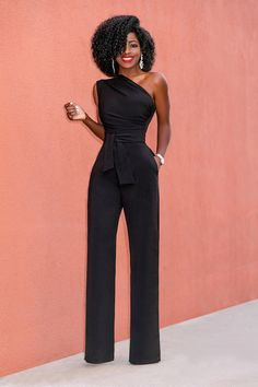 Style Pantry | One Shoulder Drape Jumpsuit w/Belt
