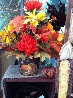Fall table arrangement in bucket