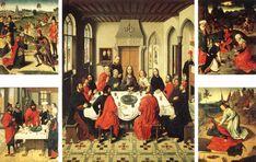 'retábulo de santo `sacrament', Petróleo por Dirk Bouts (1415-1475, Netherlands)