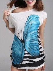 Round Neck Batwing Loose Fitting Butterfly Printed Short-sleeve-t-shirt