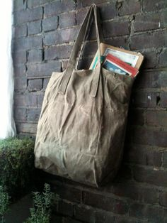 Waxed Canvas Tote  Sage by TM1985 on Etsy, $50.00