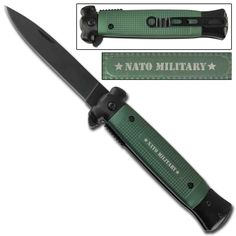 Always ready to make a sudden impact, a simple 45 degree assist of the solid steel flipper pops open the 1045 surgical stainless steel blade of this premium Striker Spring Assisted Knife. #strikerspringassistedknifeNATOgreenberets