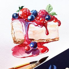 Watercolor cheesecake