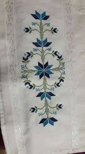 Folk Embroidery This Pin was discovered by Nur Cross Stitch Borders, Cross Stitch Rose, Cross Stitch Flowers, Cross Stitch Charts, Cross Stitch Designs, Cross Stitch Patterns, Towel Embroidery, Folk Embroidery, Beaded Embroidery
