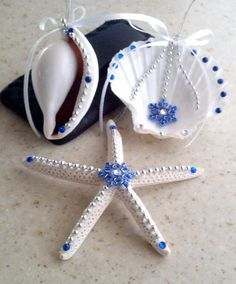 Christmas Seashell Ornaments Set 15 Blue & Silver by Eagle414, $17.95