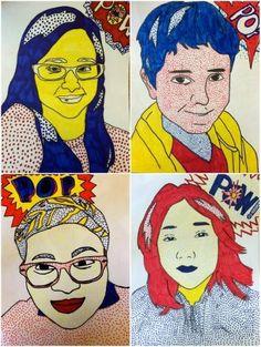Grade Roy Lichtenstein Self Portraits (Exploring Art: Elementary Art) Middle School Art Projects, High School Art, Primary School Art, Art Pop, Portraits Pop Art, Portrait Ideas, Self Portrait Art, Painting Portraits, Portrait Images
