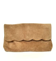 Vintage 70s Tan Suede Scalloped Leather Clutch Brown Leather Purse