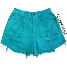 Teal Turquoise Blue Green Dyed High Waisted Denim Frayed Festival... ($18) ❤ liked on Polyvore featuring shorts, light blue, women's clothing, high rise shorts, light blue shorts, destroyed high waisted shorts, ripped denim shorts and high-waisted shorts