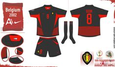 Belgium away kit for the 2002 World Cup Finals. 2002 World Cup, World Cup Final, Belgium, Finals, Kit, Sports, Hs Sports, Final Exams, Sport