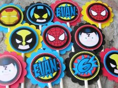 Superhero Birthday Party Cupcake Toppers - Spiderman Batman Ironman