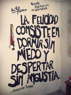 La felicidad consiste en dormir sin miedo y despertar sin angustia.