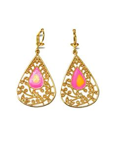 The Pink Color Splash Enamel Filigree Earrings by JewelMint.com, $59.98