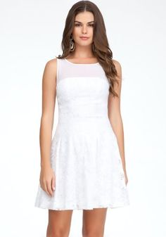 Bebe Mesh Yoke Embroidered Dress Spcl Events/eve Dresses White-0
