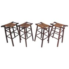 Unique Vintage Set of Rush Seat Bar Stools in the Style of Charlotte Perriand For Sale at 1stdibs