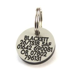 Deeply engraved 3mm thick plastic dog tag, 21mm Round
