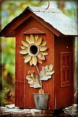 cute sunflower bird house