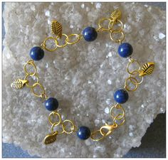 Handmade Gold Jewelry Set, Bracelet and Earrings with Lapis Lazuli & Leaves by IreneDesign2011