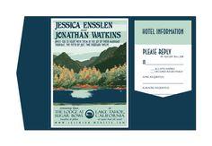 Lake Tahoe mariage Invitation poche plier Vintage Info par Orange81