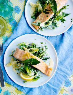 Bay-steamed salmon with tarragon veg. Light main course recipe.