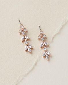 CZ Bridal Earrings, Wedding Earrings,Rose Gold Earrings,Cubic Zirconia Earrings, Rhinestone Dangle E Bridal Earrings, Bridal Jewelry, Rose Gold Wedding Jewelry, Bridal Accessories, Dangle Earrings, Rose Gold Earrings, Prom Jewelry, Rose Gold Wedding Earrings, Wedding Jewelry Simple