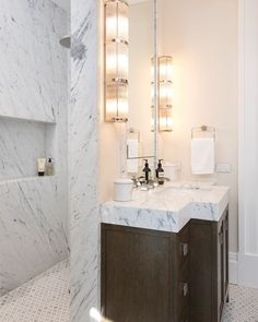 """CDK Stone on Instagram: """"Beautiful Bianco Gioia marble shower and vanity in this luxurious en-suite designed by @thomashamel . Stone installation by…"""" Natural Stone Bathroom, Natural Stones, Marble Showers, Double Vanity, Bathrooms, Luxury, Beautiful, Instagram, Design"""