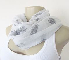 Owl Scarf  White and Grey Owl Large Scarf by ViviansAttic on Etsy